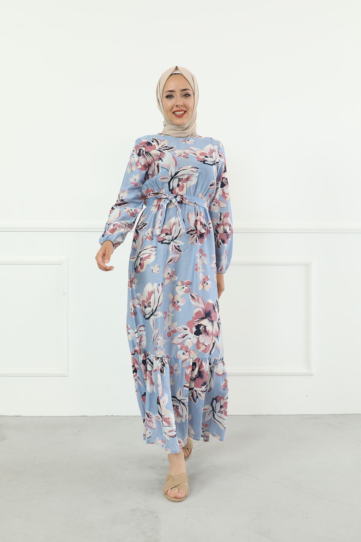 Çiçek Desen Kuşaklı Elbise-Mavi