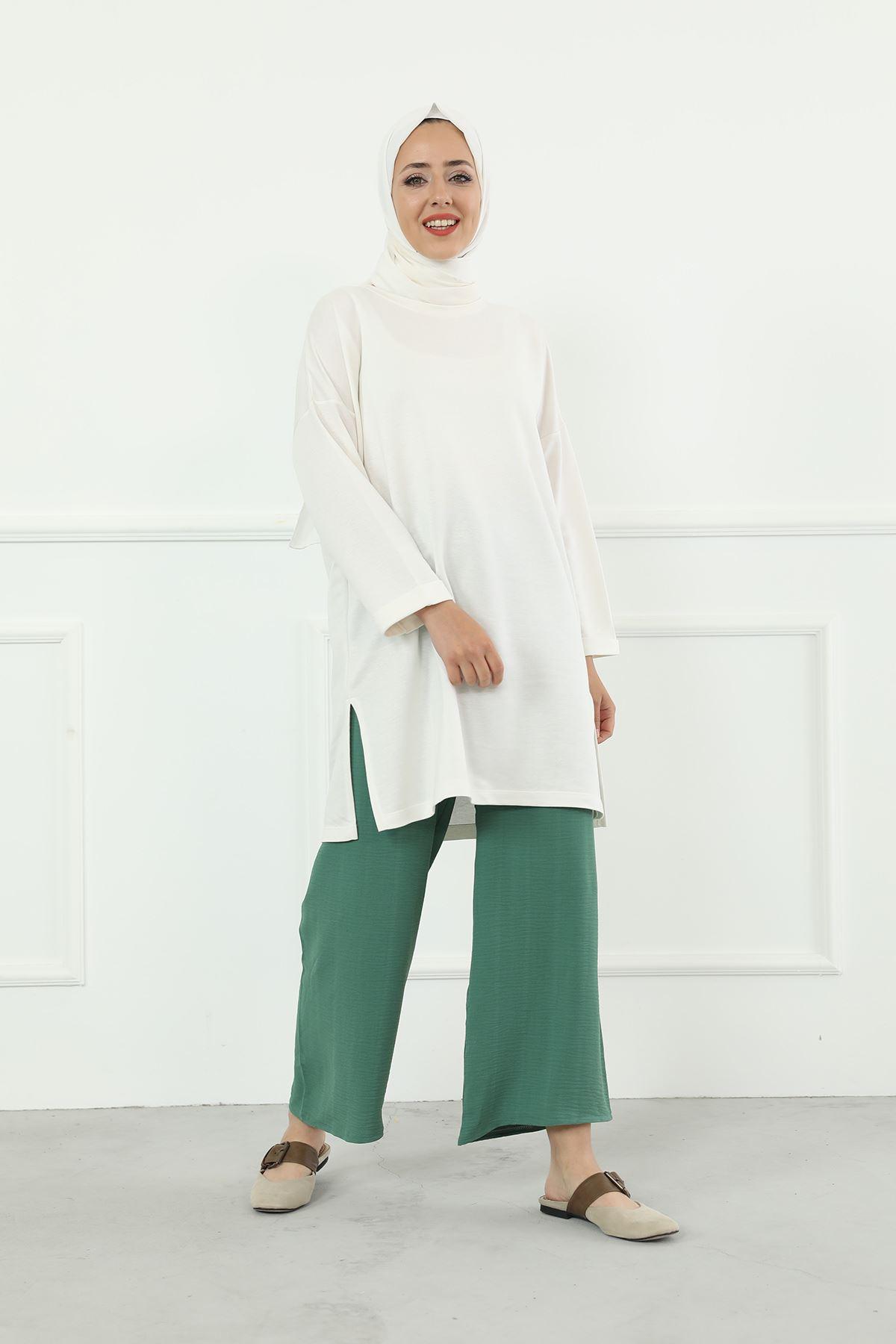 Beli Lastikli Bol Paça Pantolon-Mint