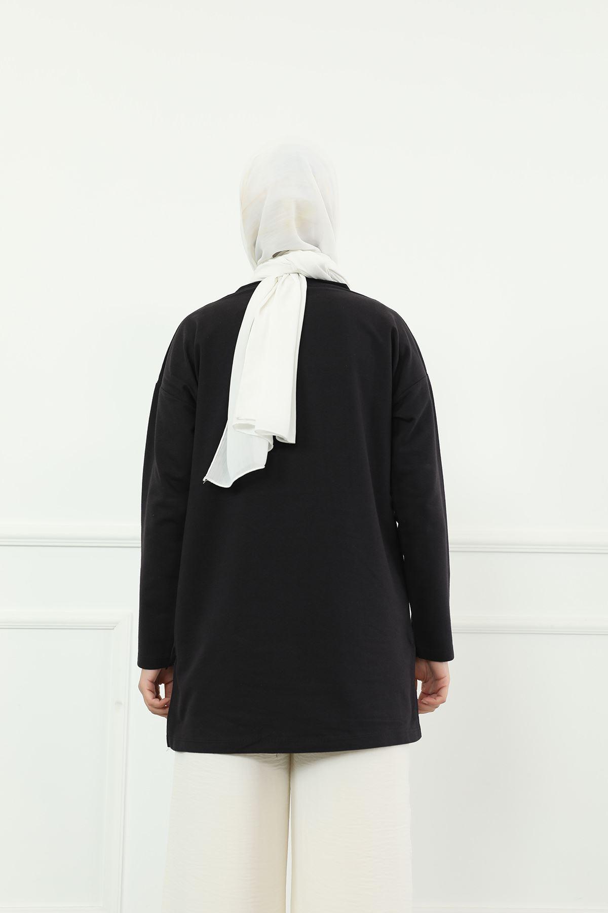 Baskılı Sweatshirt-Siyah