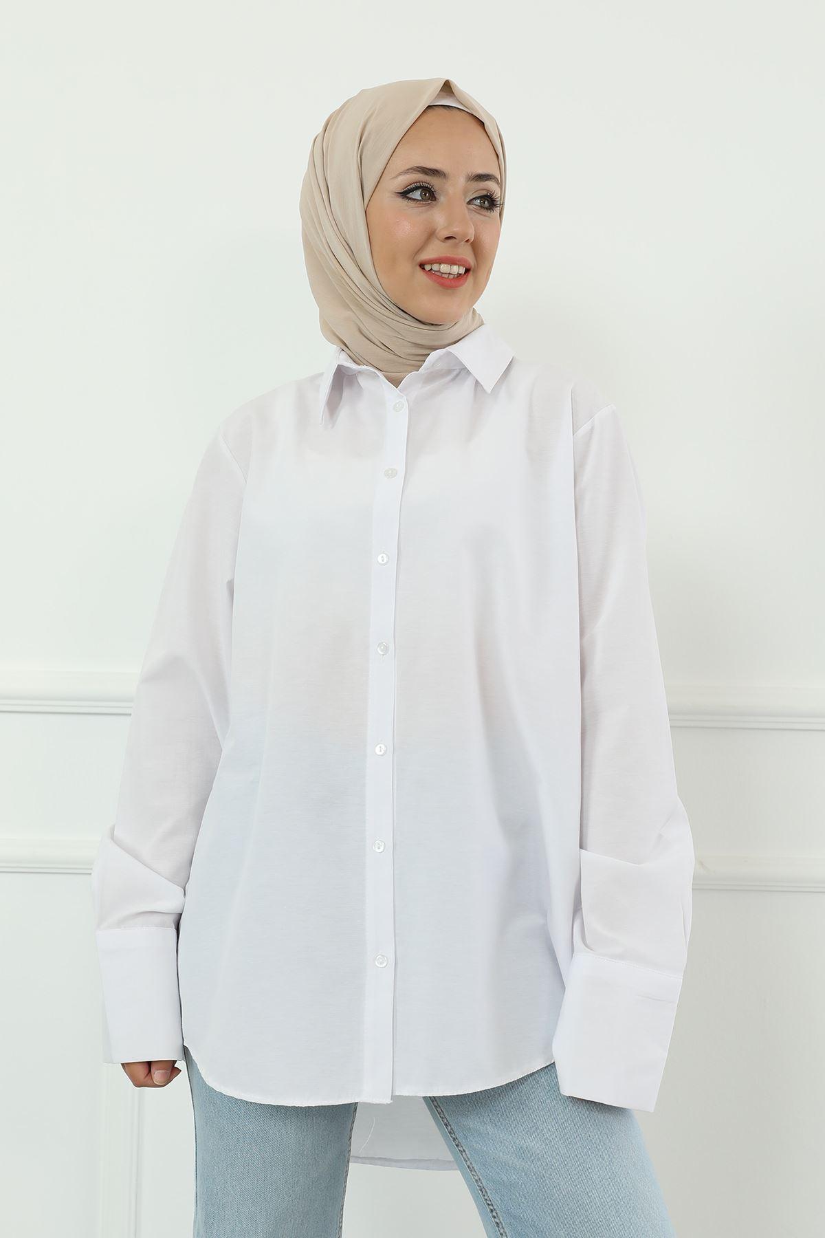 Poplin Gömlek-Beyaz