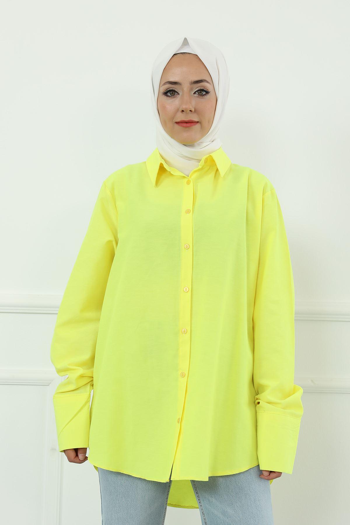 Poplin Gömlek-Neon Sarı