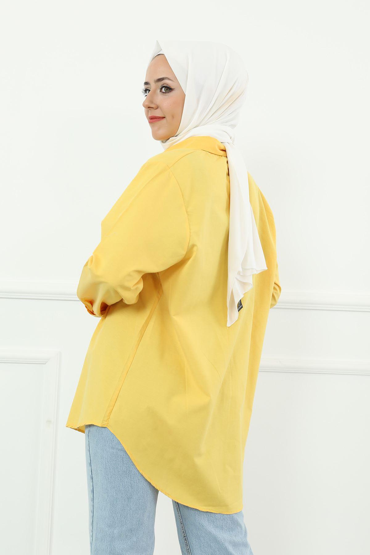 Poplin Gömlek-Sarı