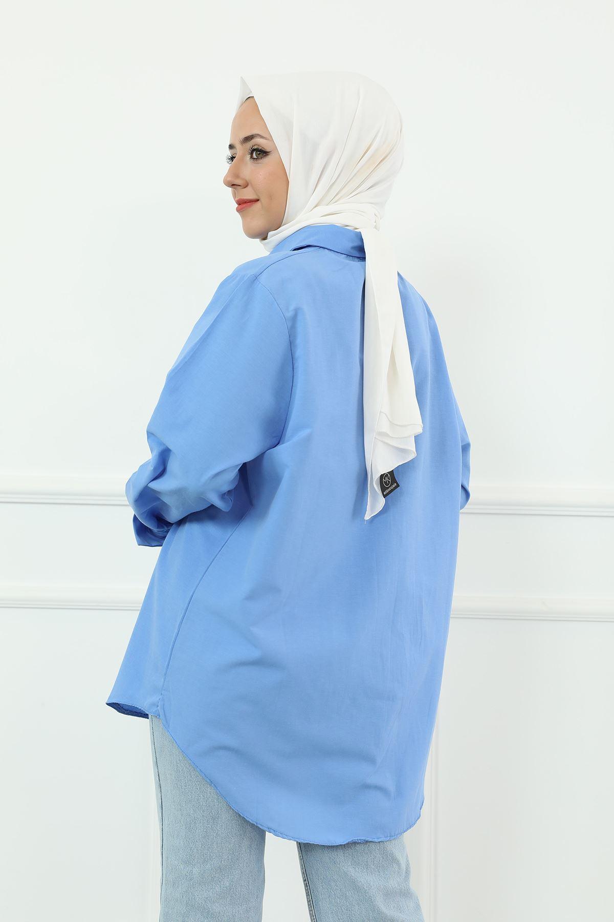Poplin Gömlek-Mavi