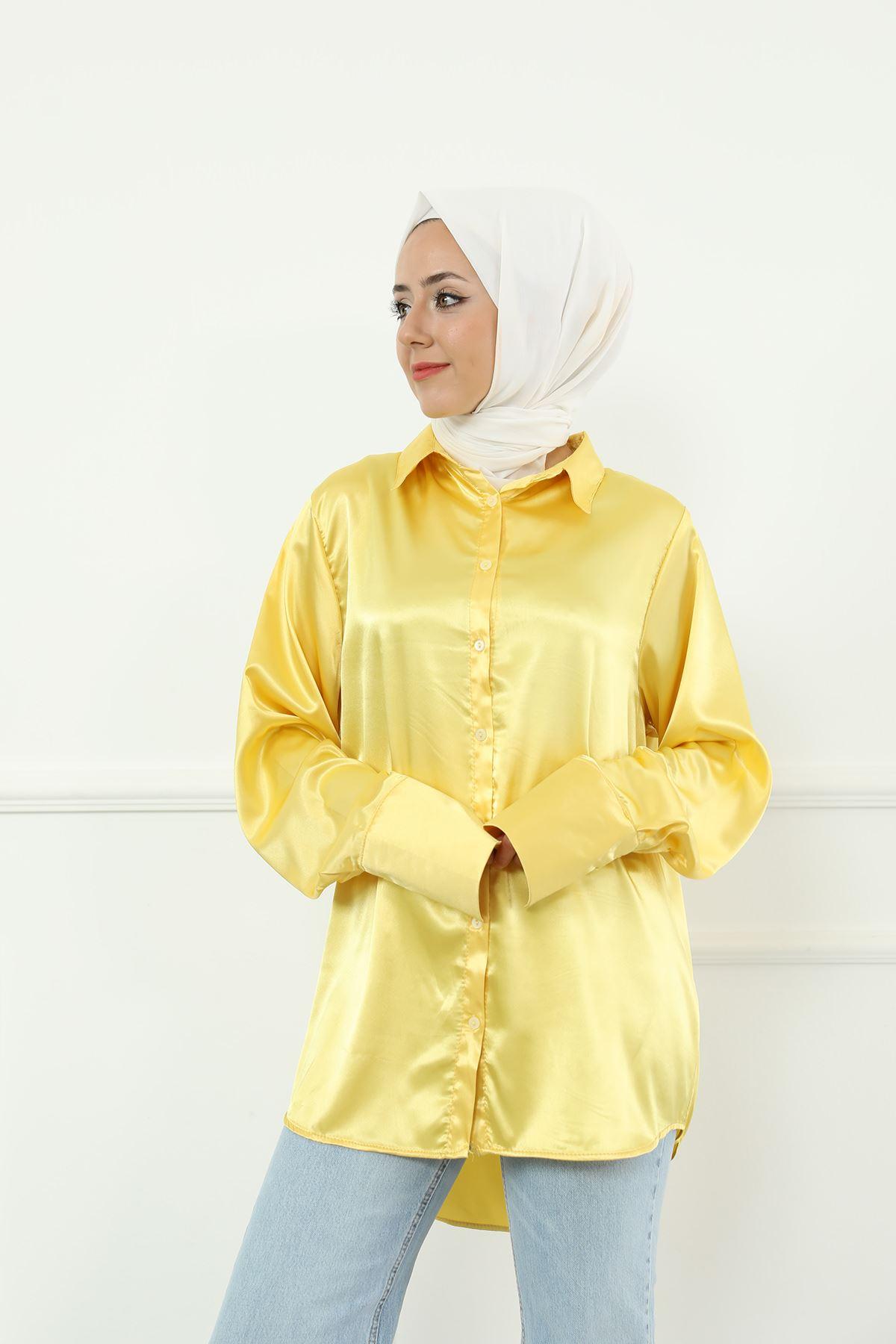 Saten Gömlek-Sarı