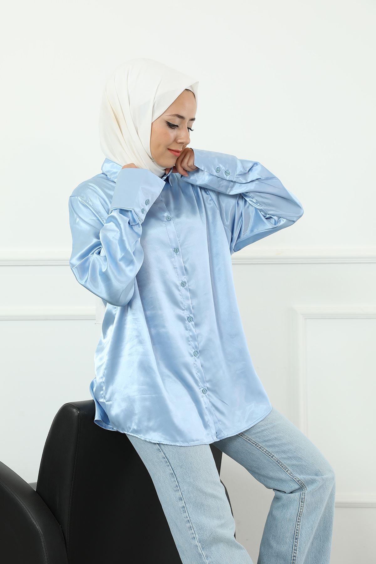 Saten Gömlek-Mavi