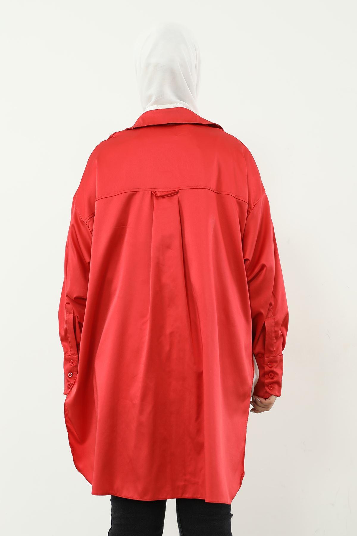 Oversize Saten Gömlek-Kırmızı