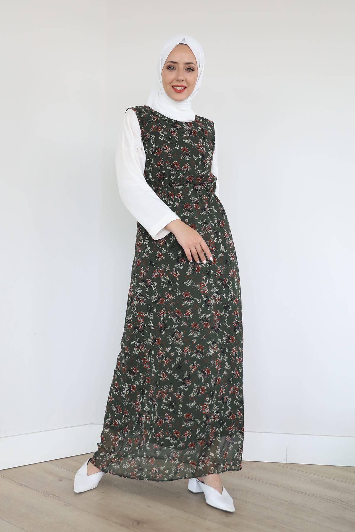 Çiçek Desen Şifon Elbise-Haki