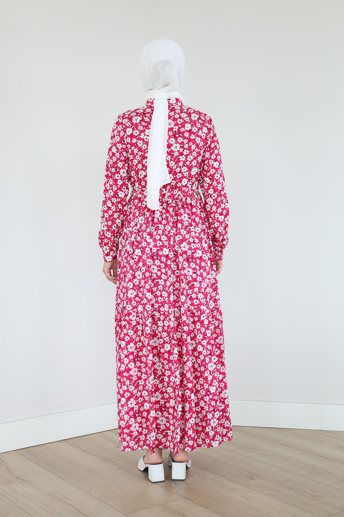 Çiçek Desen Elbise-Fuşya