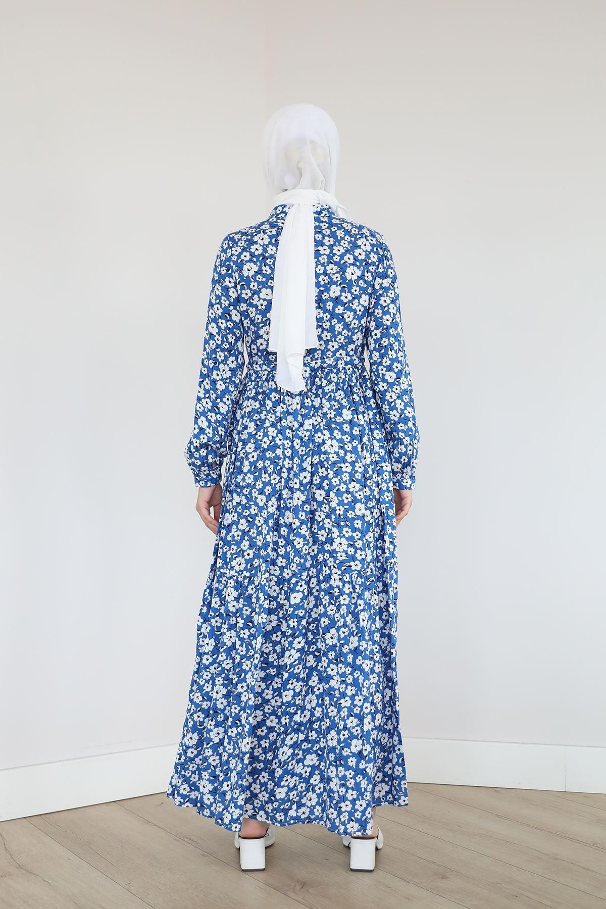 Çiçek Desen Elbise-Saks