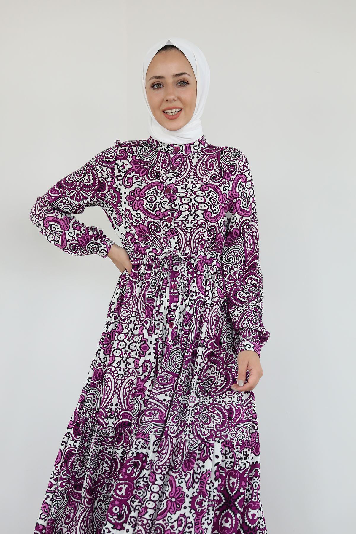 Şal Desen Uzun Elbise-Mor