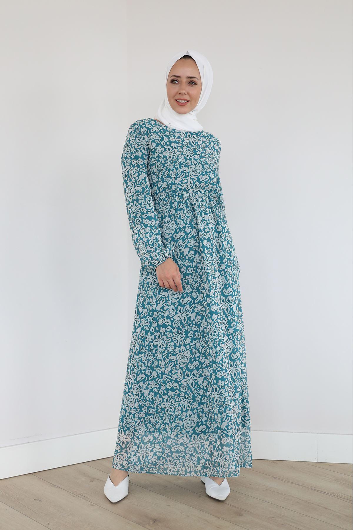 Şifon Elbise-Mint