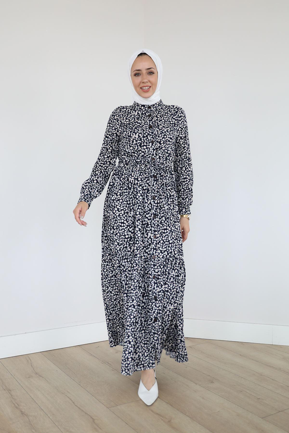 Papatya Desen Elbise-Siyah