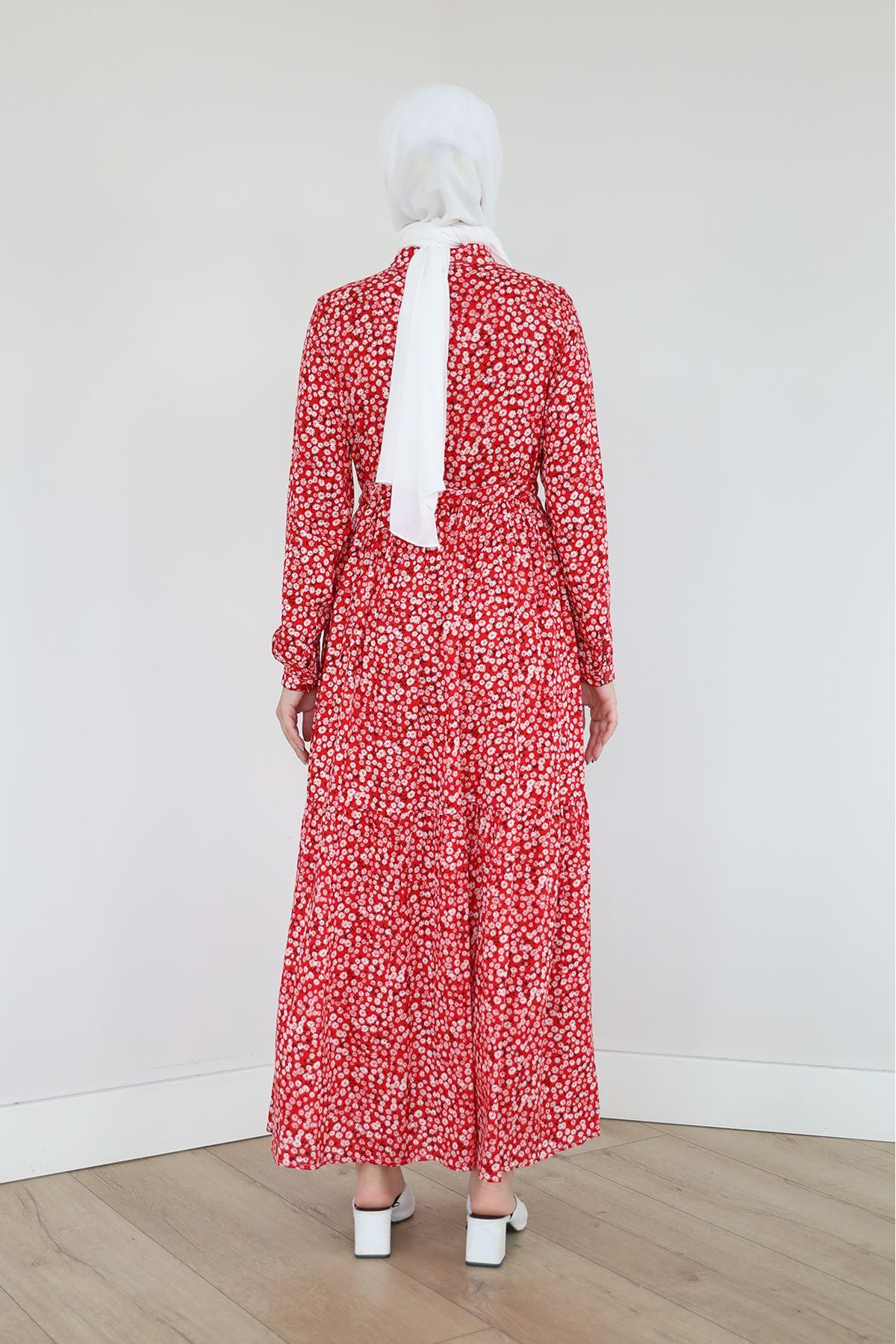 Papatya Desen Elbise-Kırmızı