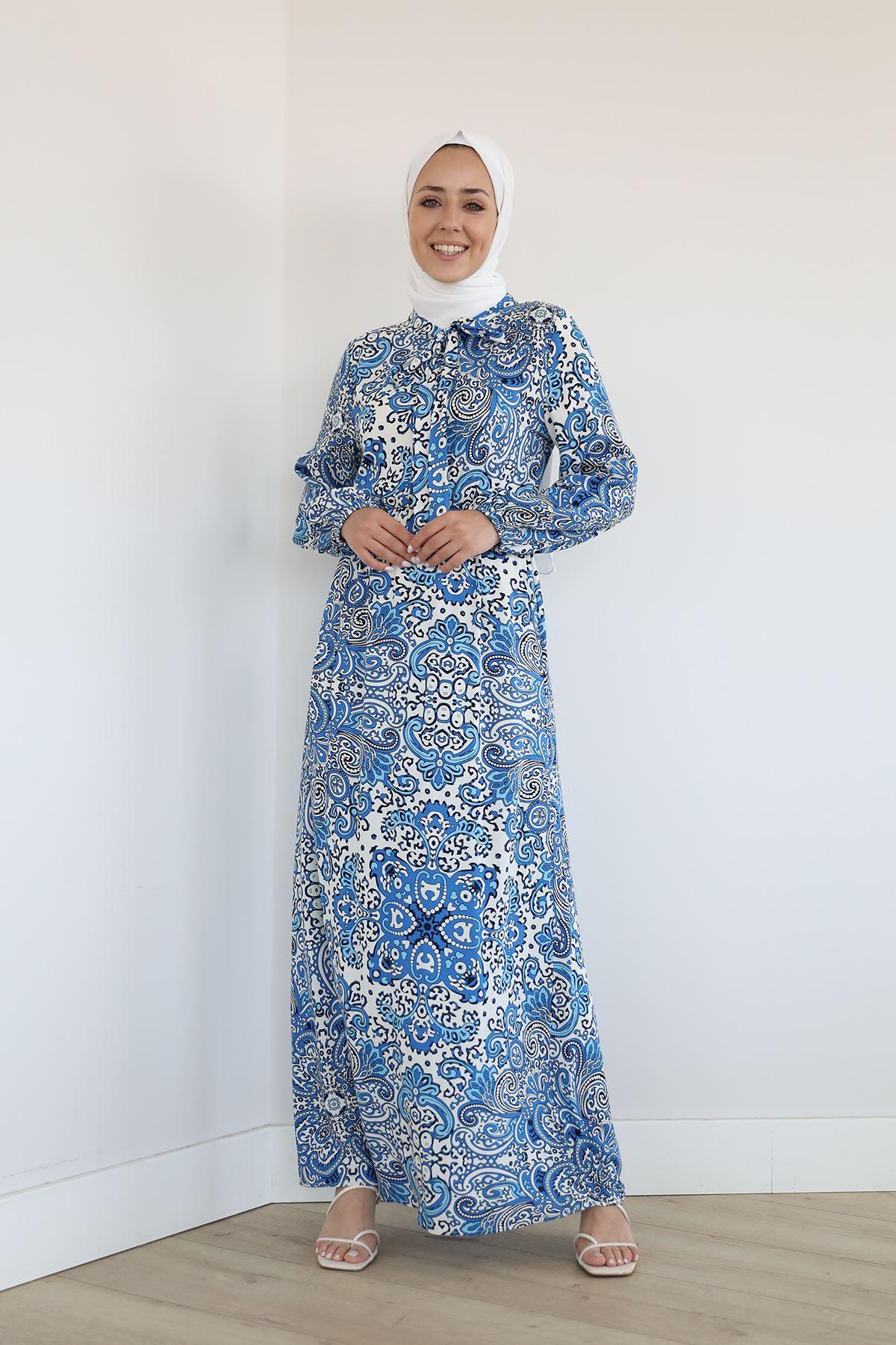 Şal Desen Uzun Elbise-Saks