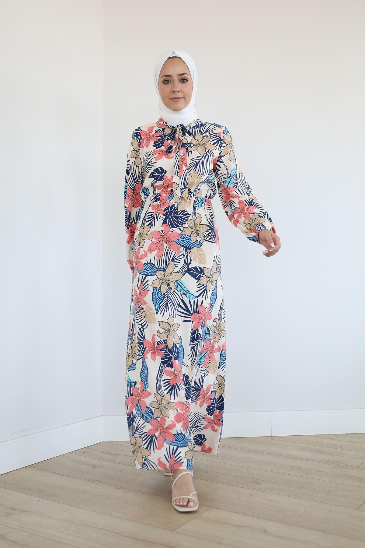 Çiçek Desen Yaka Bağlamalı Elbise-Bej