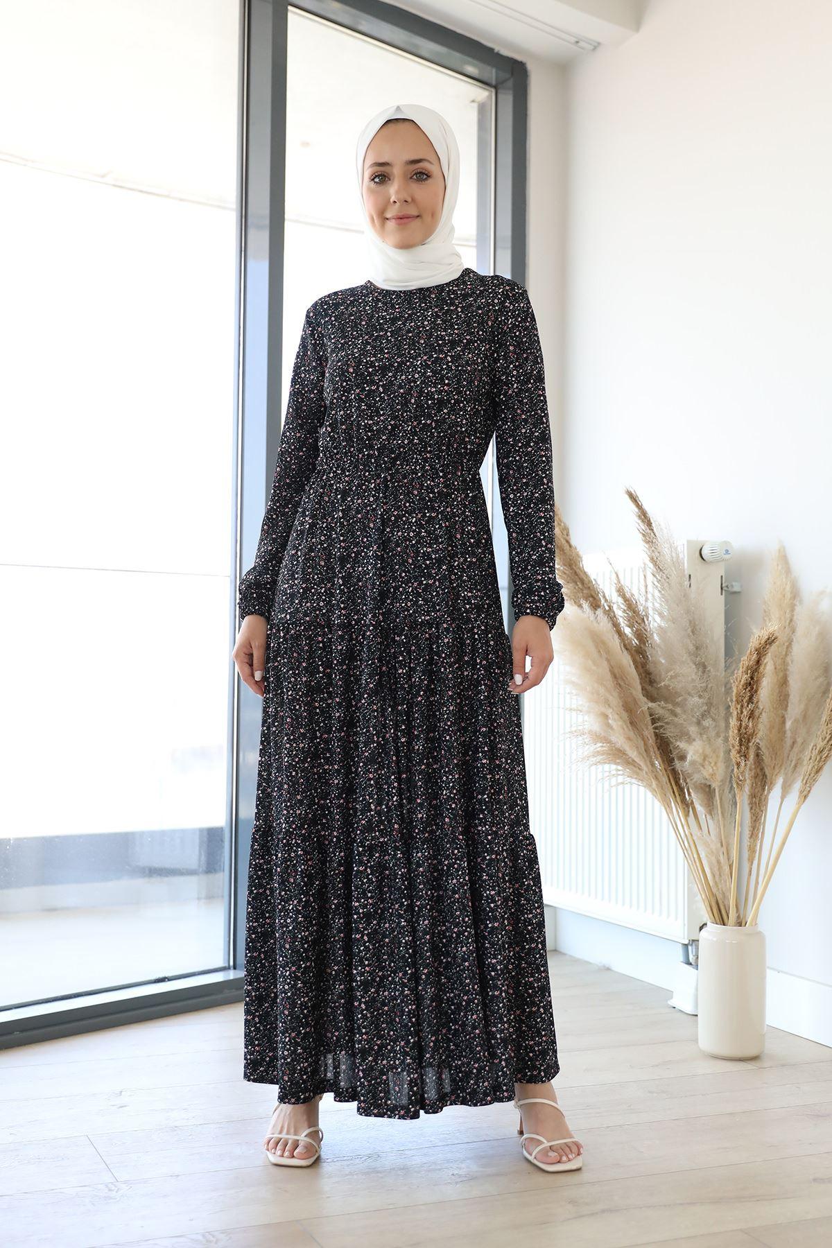 Desenli Uzun Elbise-Siyah