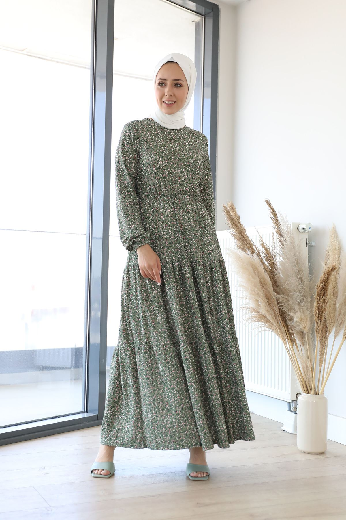 Desenli Uzun Elbise-Haki
