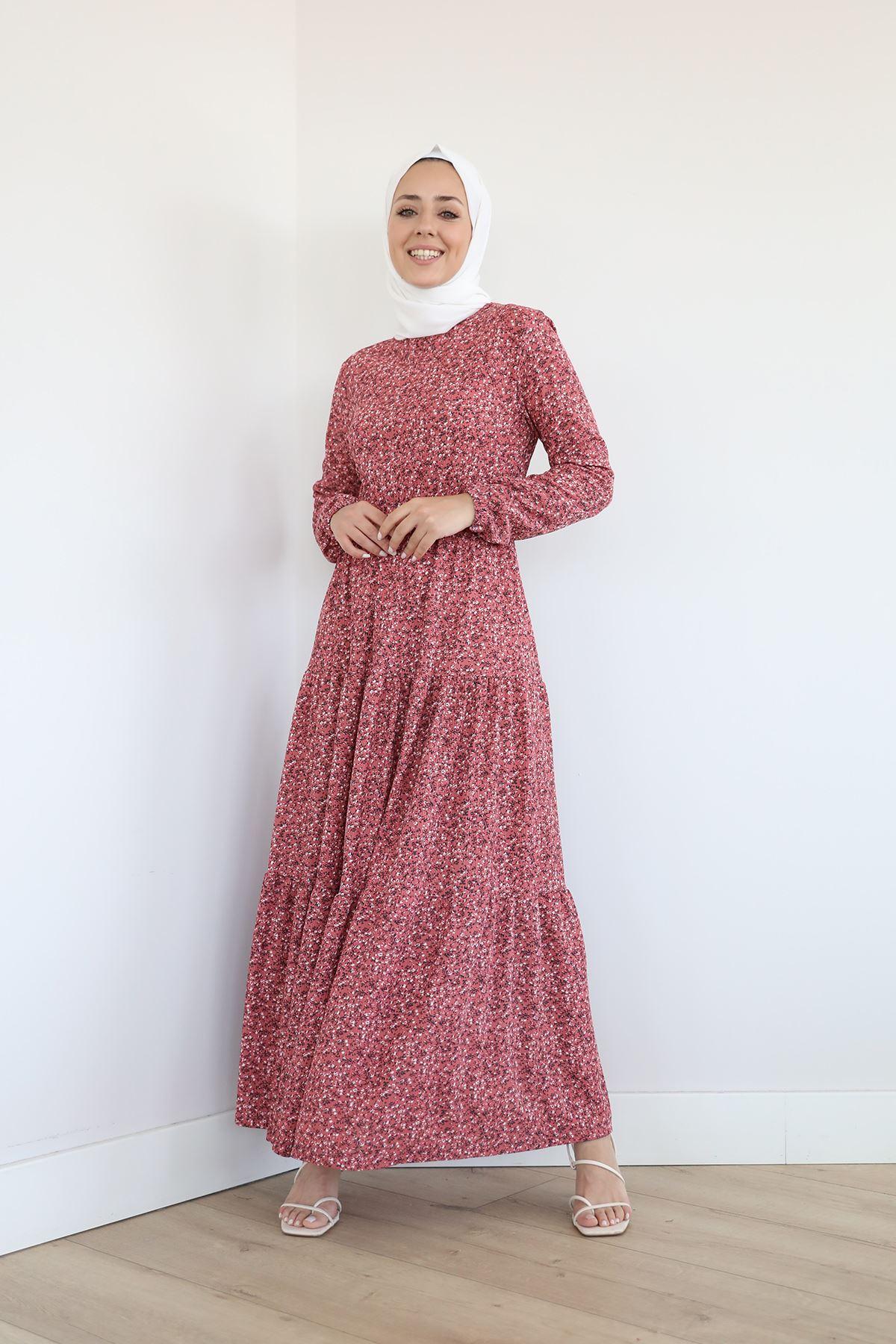 Desenli Uzun Elbise-Gül Kurusu