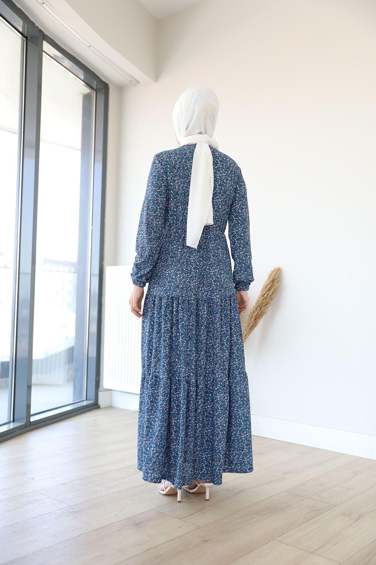 Desenli Uzun Elbise-İndigo
