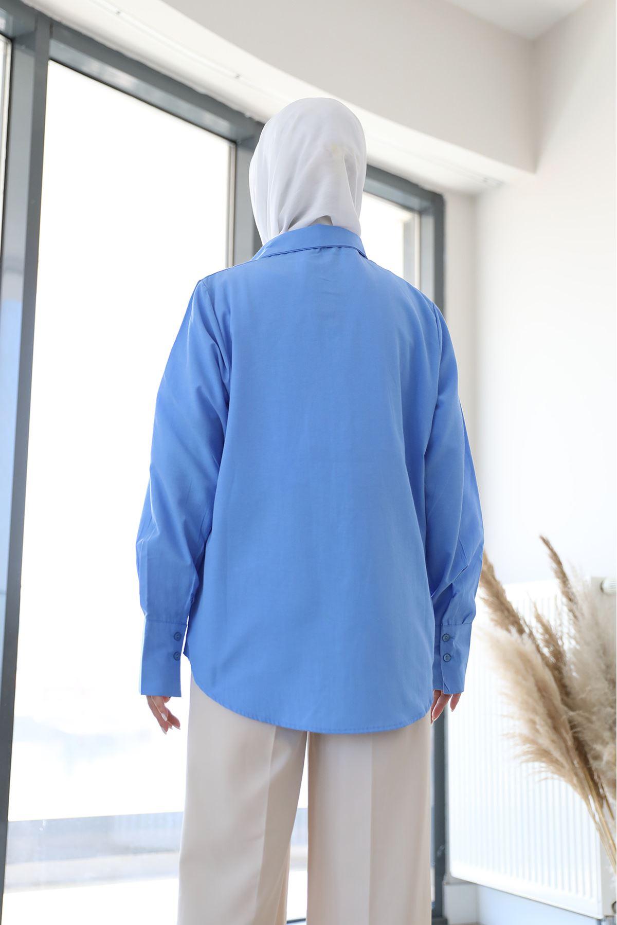 Poplin Gömlek-Koyu Mavi