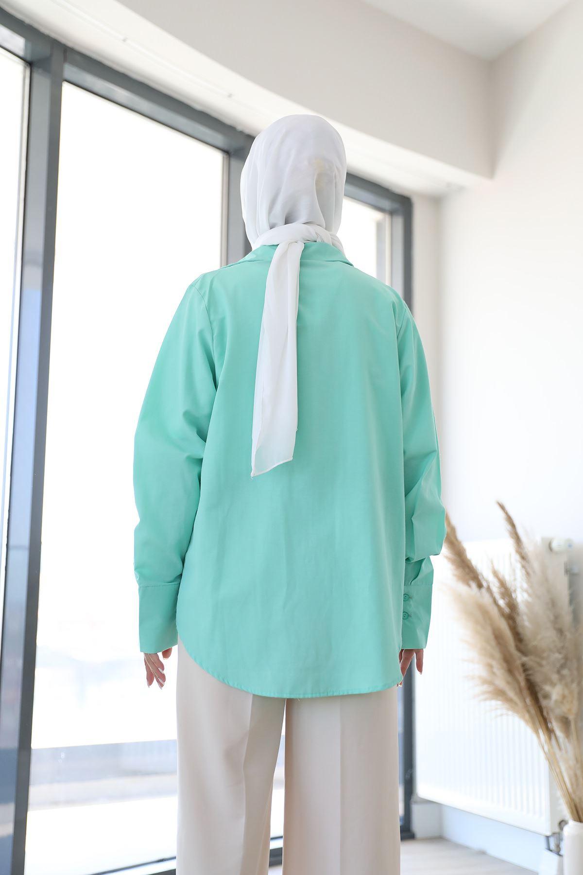 Poplin Gömlek-Açık Yeşil