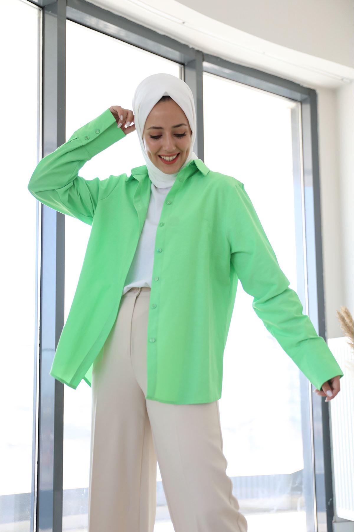 Poplin Gömlek-Fıstık Yeşili