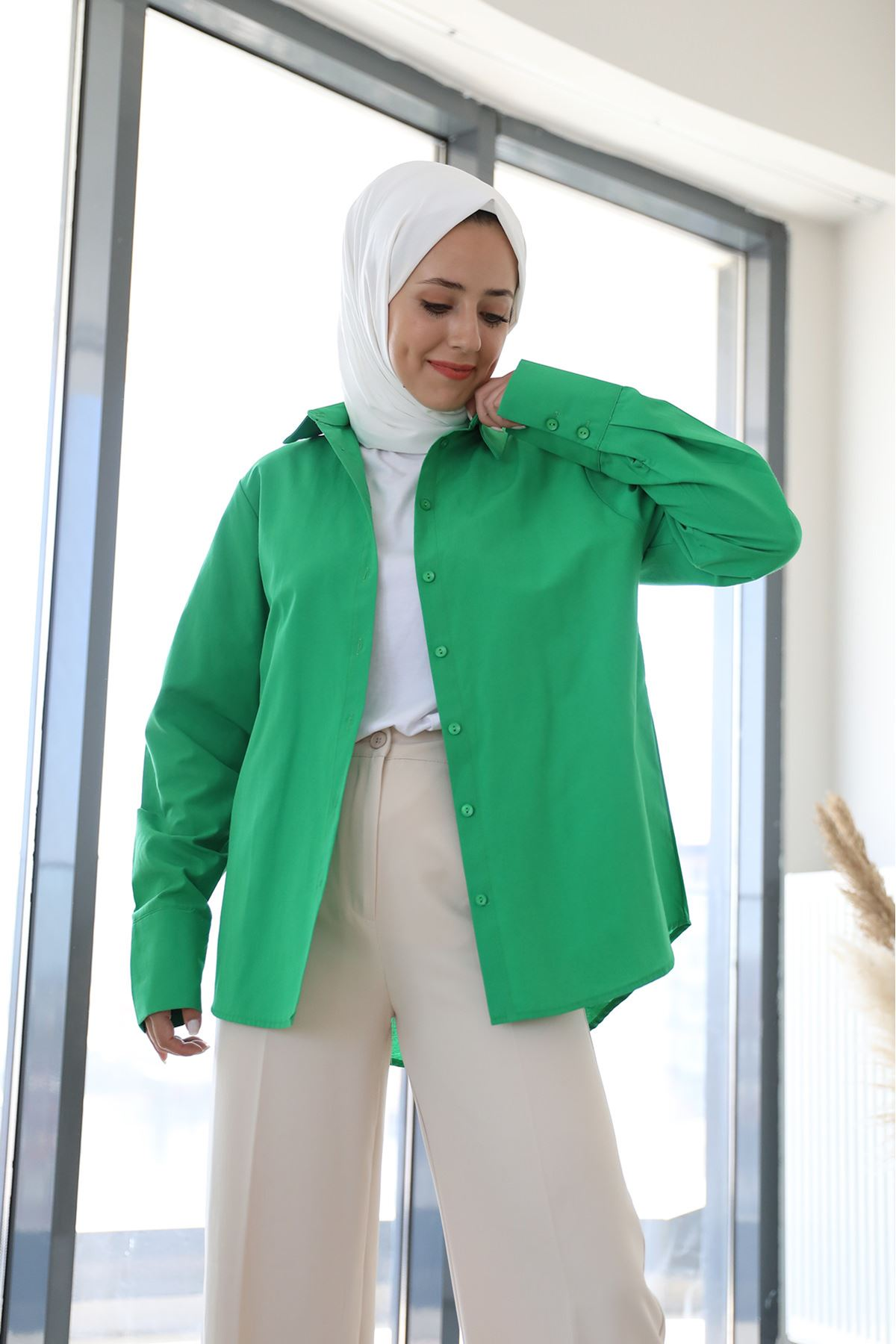 Poplin Gömlek-Koyu Yeşil