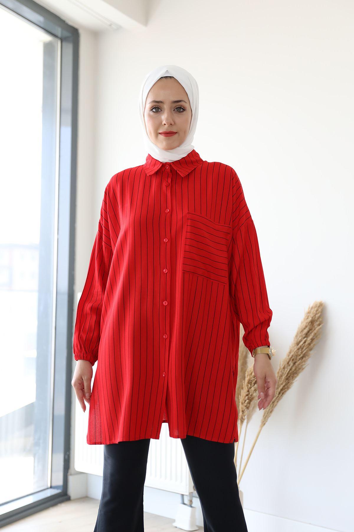 Çizgili Salaş Gömlek-Kırmızı