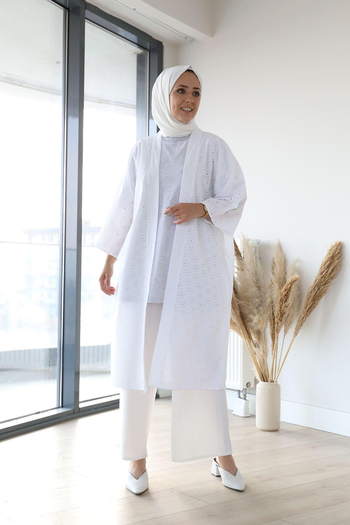 Kuşaklı Kimono-Beyaz