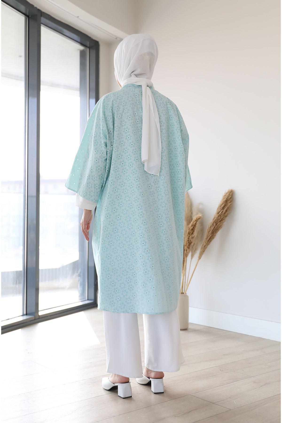 Kuşaklı Kimono-Mint