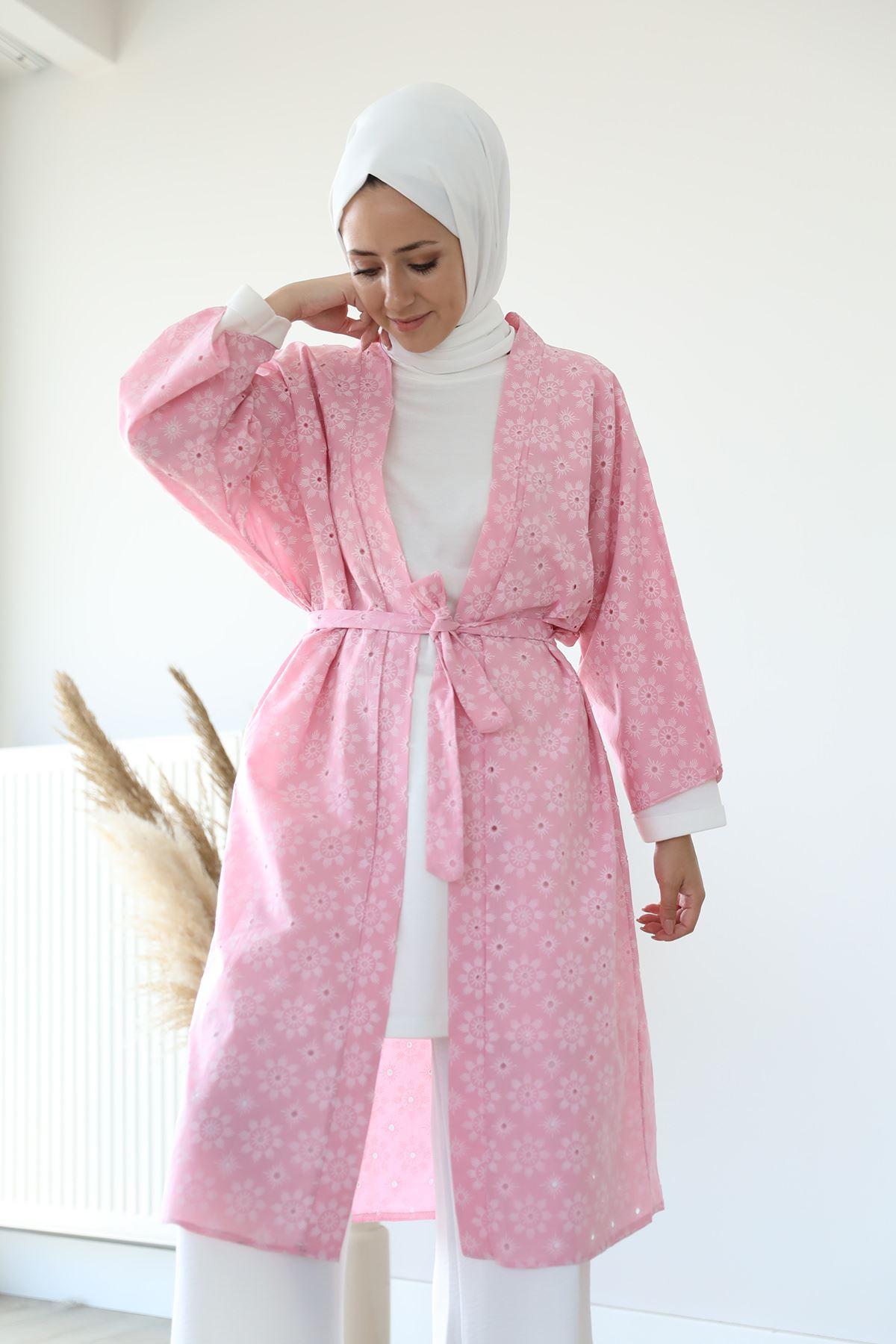 Kuşaklı Kimono-Pudra