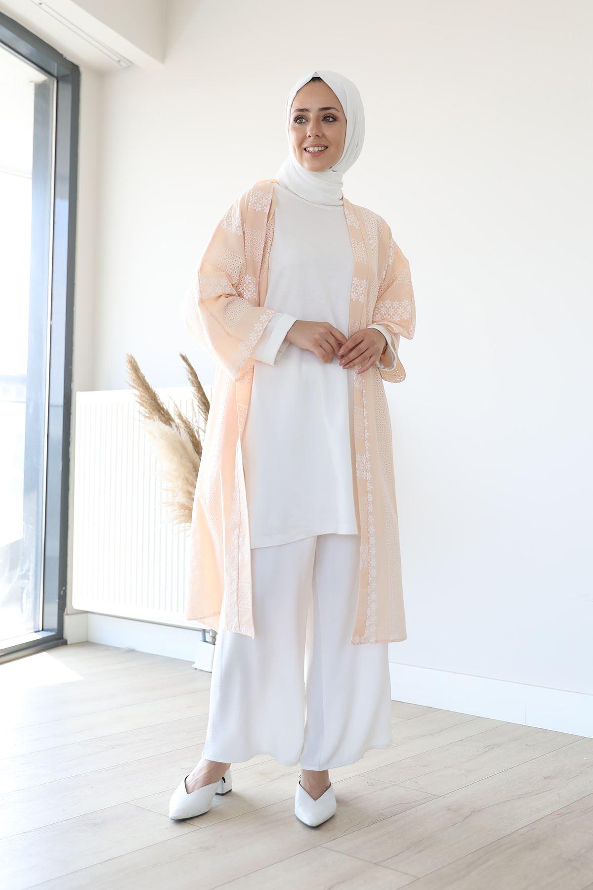 Kuşaklı Kimono-Bej