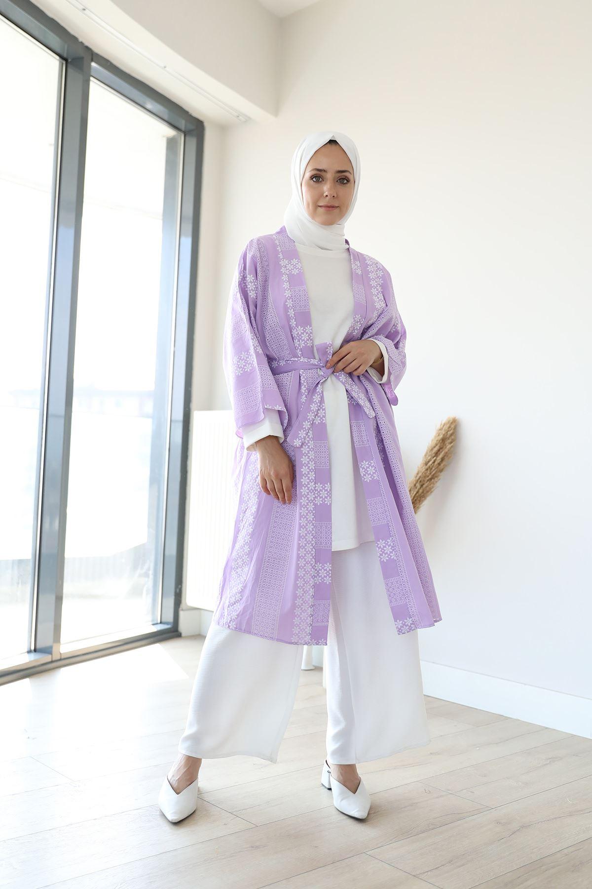 Kuşaklı Kimono-Lila