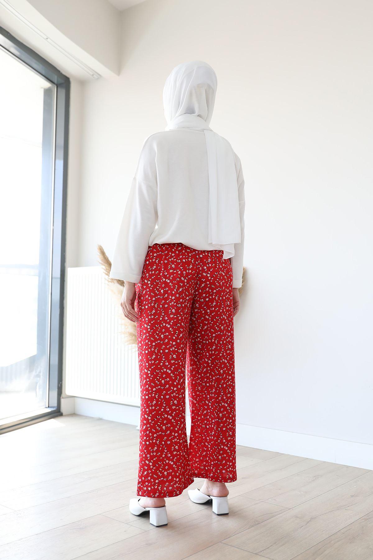Beli Lastikli Pantolon-Kırmızı
