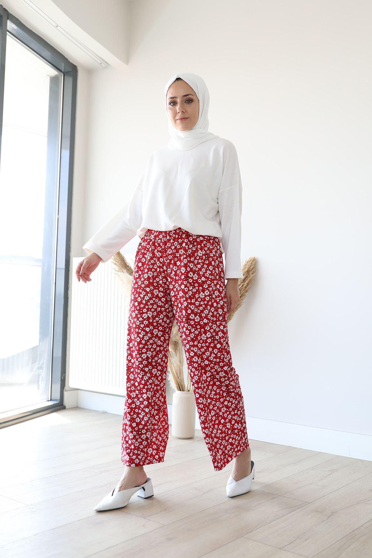 Çiçek Desen Pantolon-Kırmızı