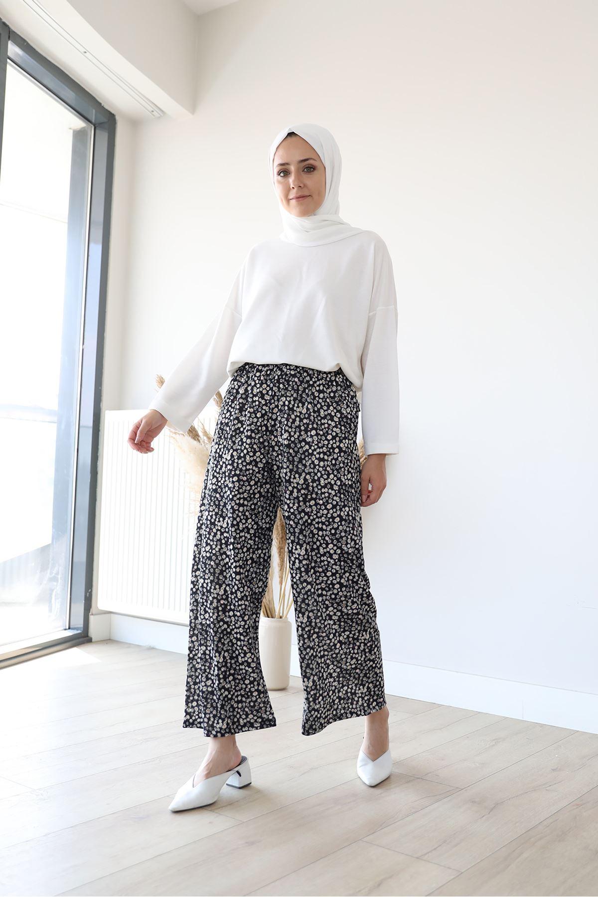 Papatya Desen Pantolon-Siyah