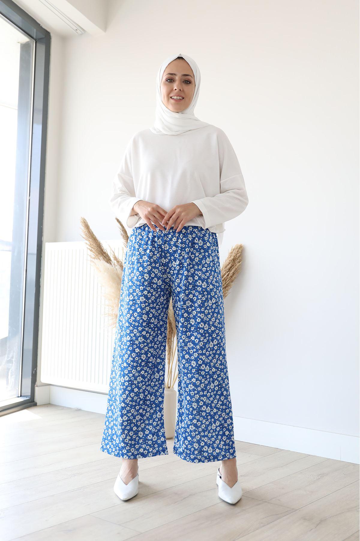 Çiçek Desen Pantolon-Saks