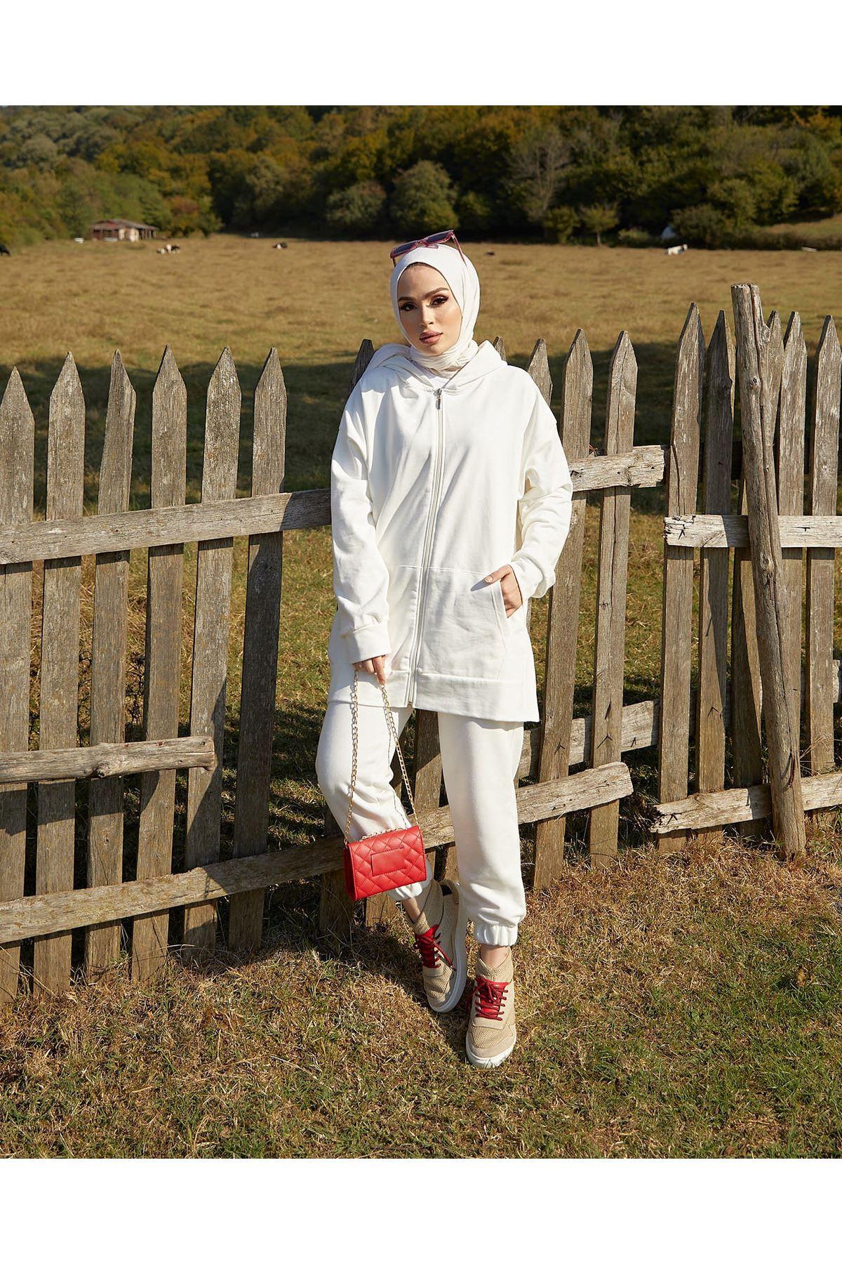 Fermuarlı Eşofman Takım-Beyaz